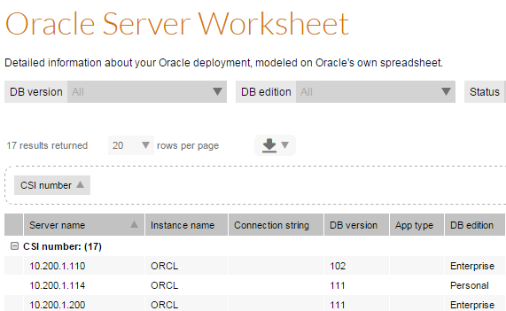Sample from Oracle Server Worksheet