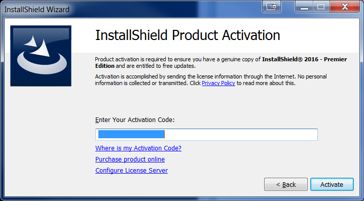 Offline Activation Dialog - Activation Code/Serial Number Dialog
