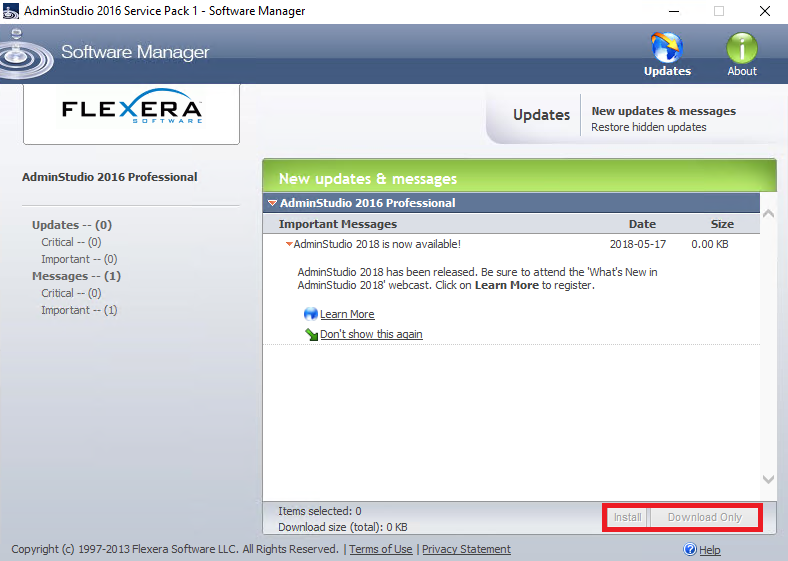 Software manager displaying a message that a new version of the product is available.