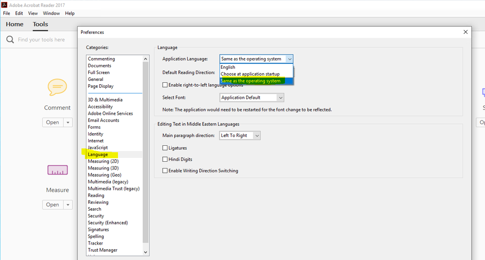 """e.g. Adobe Acrobat can only be set to """"Language of the Operating System"""" or during first run"""