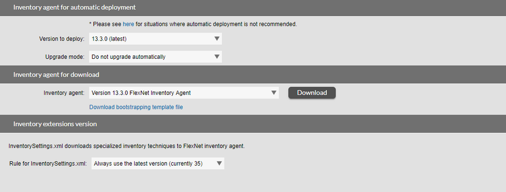 Inventory agent for download section of FNMS