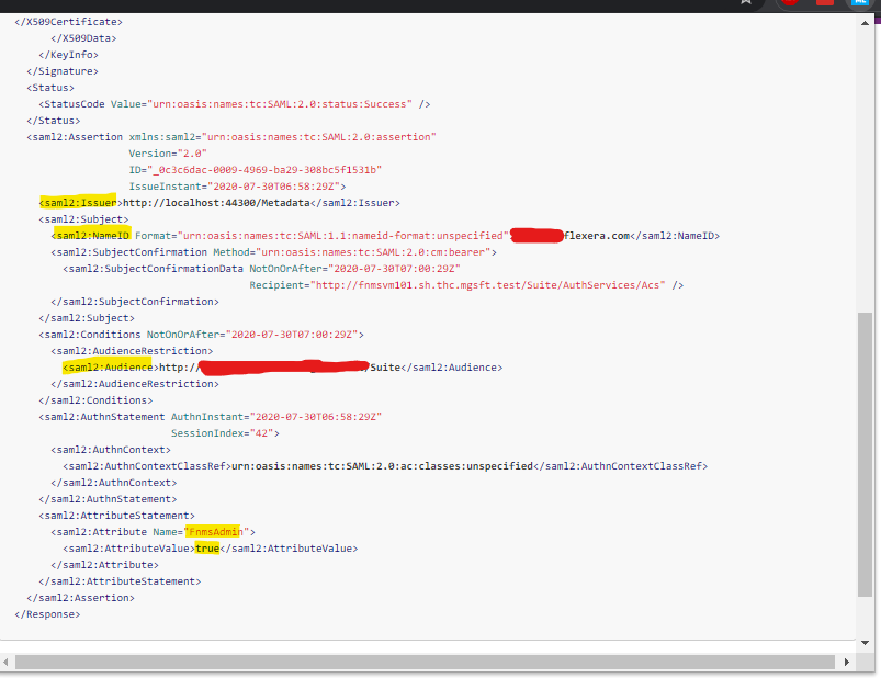 Sample SAML response