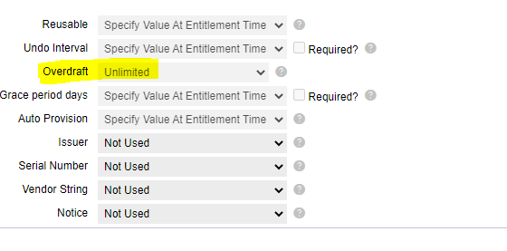 License Model attributes