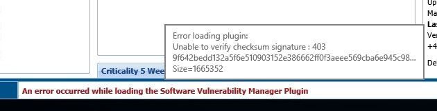 An error occurred while loading the Software Vulnerability Manager Plugin.JPG