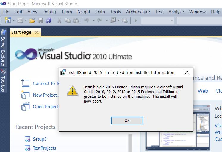 installing InstallShield2015 problem with VS2010 u    - Community