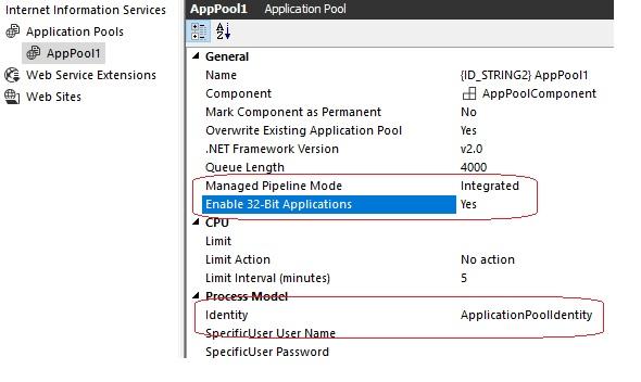 IIS Application Pool settings not saved - Community