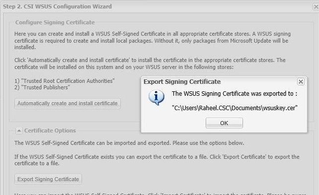 Example of exporting the certificate