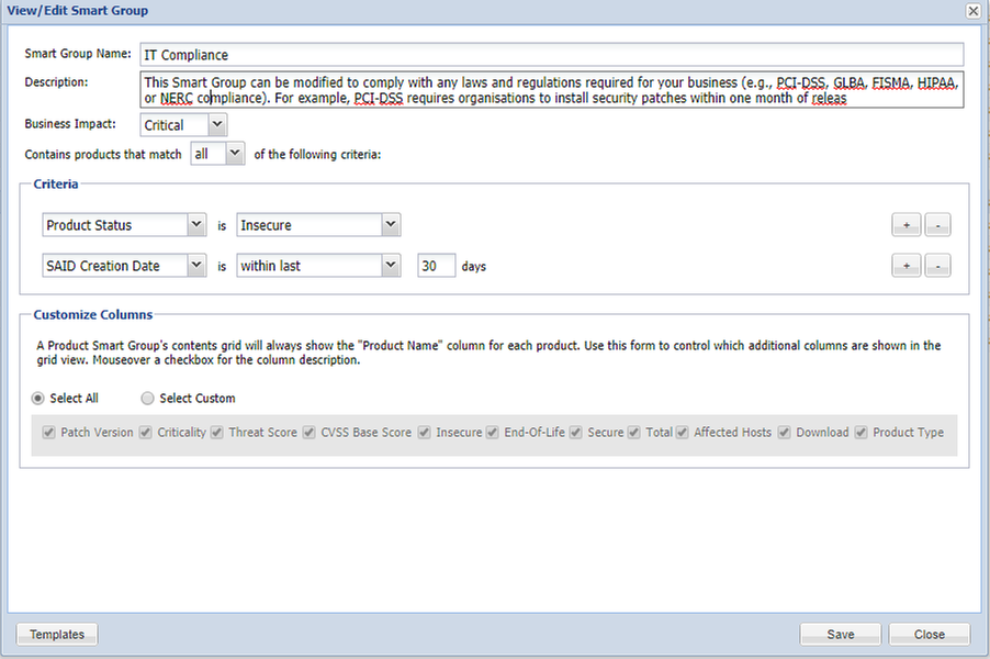 Example of SG configuration that helps you follow up on your compliance statuses