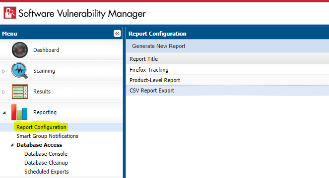 Create a new report under the Reporting > Report Configuration menu