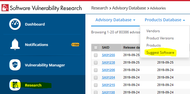 Find the Suggest Software menu in the Research section of SVR