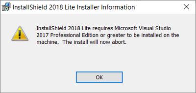 Unable to install InstallShield 2018 Lite on VS201